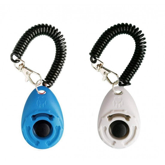 Dog Training Clicker with Wrist Strap - OYEFLY Durable Lightweight Easy to Use, Pet Training Clicker for Cats Puppy Birds Horses. Perfect for Behavioral Training 2-Pack (Blue and White)