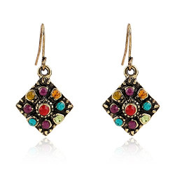 Bohemian National Style Earrings, OYEFLY Diamond Earrings Retro Rhinestone Ear Stud Earrings Jewelry Eardrop Gift