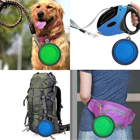 OYEFLY 2-Pack Extra Large Size Collapsible Dog Bowl Foldable Expandable Cup Dish for Pet Cat Food Water Feeding Portable Travel Bowl Blue and Green Free Carabiner