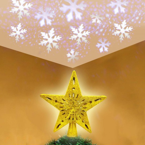 OYEFLY Christmas StarTree Decorative Lights Star Tree Dome Light, with LED White Snowflake Projector Rotating Magic Cool Lights, Star Christmas Tree Topper (Gold)