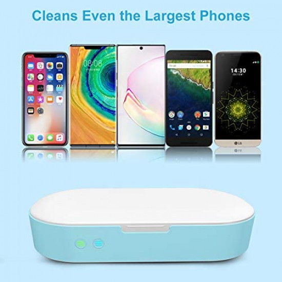 OYEFLY Smart Phone Sanitizer Portable UV Lights Cell Phone Sanitizer Sterilizer Cleaner Aromatherapy Function Disinfector for All iPhone Android Cellphone Toothbrush-Blue