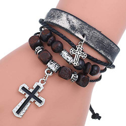 OYEFLY Vintage Bohemia Beaded Bracelet Genuine Leather Bracelets Rope Woven Beaded Hemp Cords Wrap Bracelet Jewelry Cross Bangle Multi-Layer Stackable Religion Faith Wristband (Black,style1)