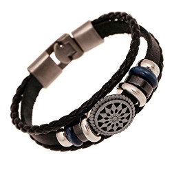 OYEFLY Vintage Bohemia Beaded Bracelet Womens Bracelets New Lucky Sun Sign Beads Leather Bracelets for Men and Women (Black,style1)
