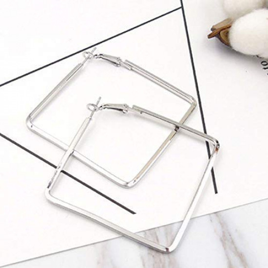 OYEFLY Stainless Steel Simple Geometric Hoop Earring for Women Girls (Silver,style1)
