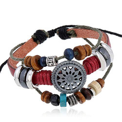 OYEFLY Vintage Bohemia Beaded Bracelet, Multilayer Hand Woven Wristbands, Hemp Cords Wrap Bracelet Jewelry for Men and Women